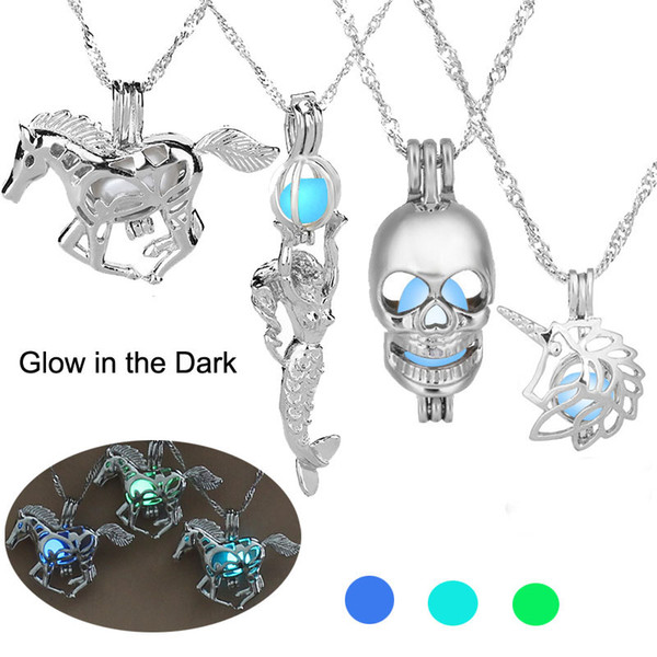 top popular Luminous Glowing in the Dark Horse Necklace Silver Horse Marmaid Skull Unicorn Pendant Lockets chain women Fashion Jewelry will and sandy 2020