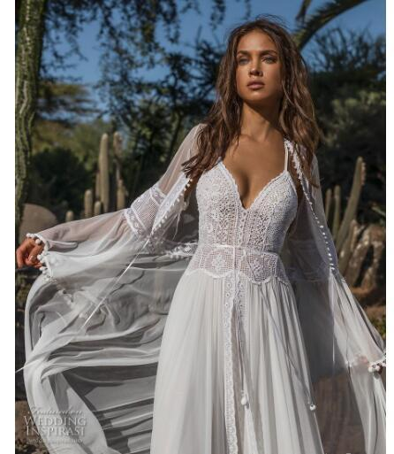 2019Bohemia for brides & for whimsical gowns with a hint of sultriness, Delicately beaded straps, crochet lace and eyelet details highlight