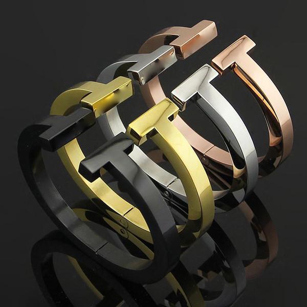 New Jewelry Stainless Steel 18K Rose Gold Double T Bangle & Bracelets Cuffs Open Silver Jewelry Love Bracelets Women's Gifts