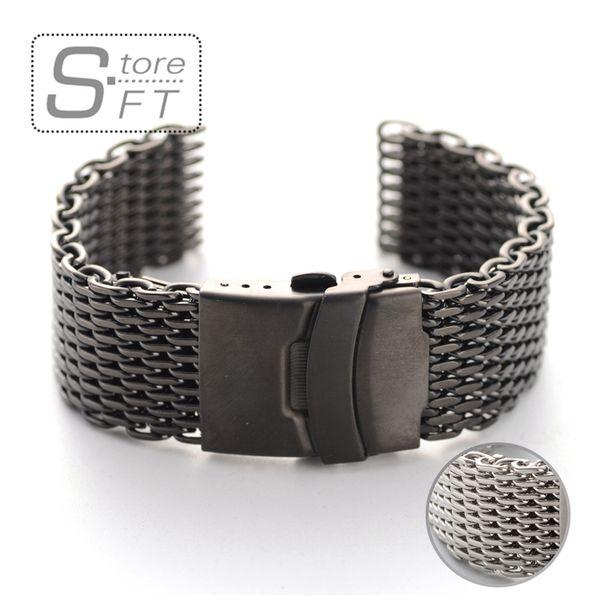 EACHE 22mm Edelstahl Mesh Uhr Armband Armband Hohe Qualität 316 Edelstahl 20mm 24mm Silber Schwarz Uhrenarmbänder