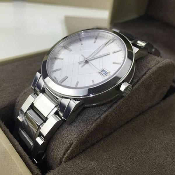2018 Хорошее качество классическая мода большая проверка нержавеющей стали мужские часы BU9000 Серебряный Кварцевые наручные часы 38 мм от Алина