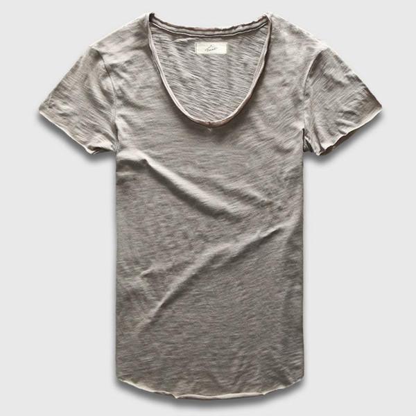 Wholesale- Plain Basic Top Tees Men Casual Deep V Scoop Neck T-Shirt Male Slim Fit T Shirt Luxury Curved Hem Navy Tee Muscle