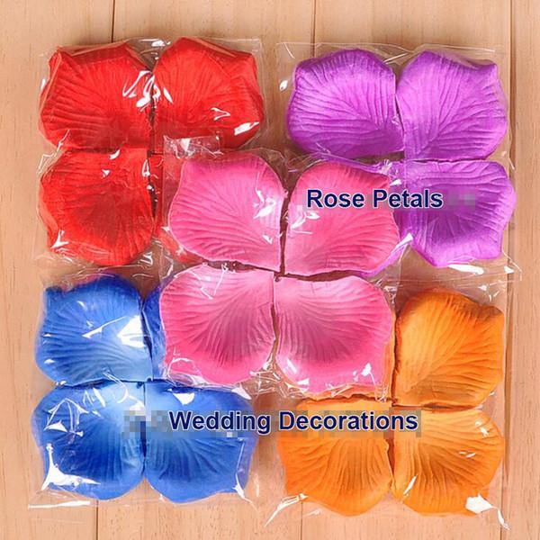MOQ: 10 bolsas de pétalos de rosa flores artificiales telas no tejidas Confesión Apoyos más color para decoraciones de la boda