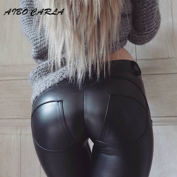Aibo Carla Plus Size Sexy Women Faux Leather Legging Fashion High-waist Stretch Material Pencil Pants Black Footless Leggings