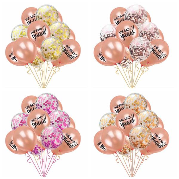 Nuevo llega 15 unids / lote 12 pulgadas Globo de confeti de oro de colores de papel Flamingo Latex Globo Cumpleaños Decoración de la boda fuentes del partido