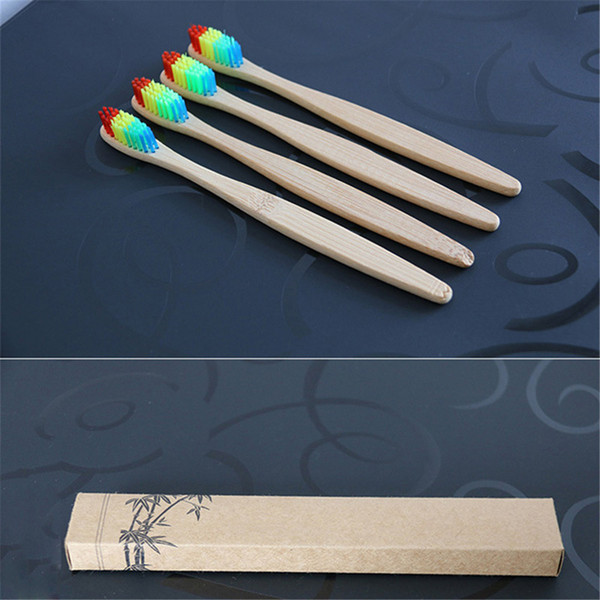 2018 Colorful Head Bamboo Toothbrush Wholesale Environment Wooden Rainbow Bamboo Toothbrush Oral Care Soft Bristle 1 Piece 0610084