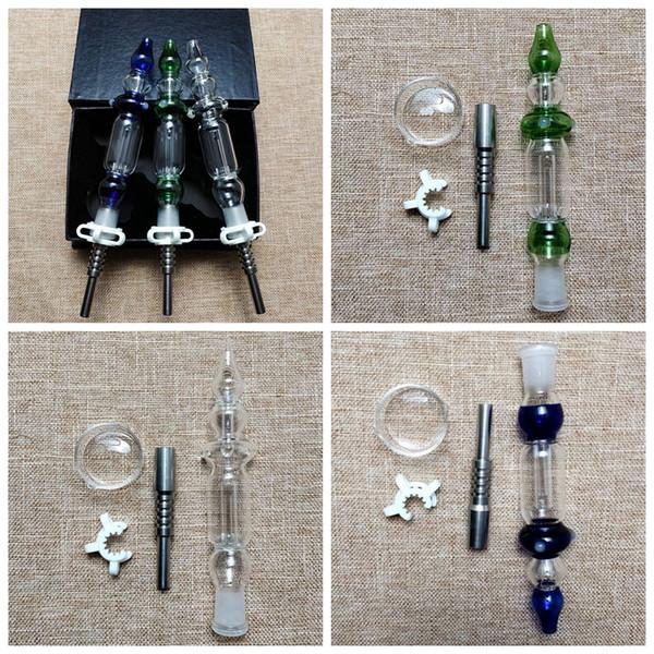 10mm 14mm Nector Coletores Kits Mini Nector Coletor Verde Azul Claro Cores Nector Coletor Óleo Dab Rigs Com Dabber Prato Titânio Prego