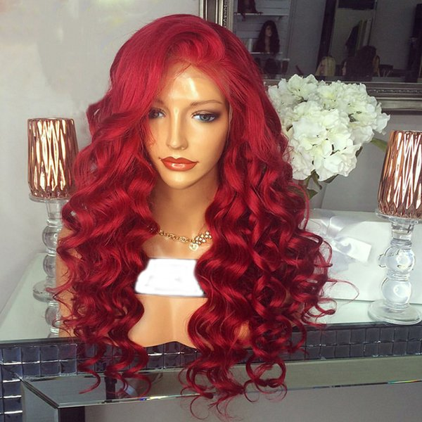 Red Lace Front Human Hair Wigs for Women Loose Deep Wave Curly Brazilian Virgin Hair Pre Plucked Lace Wig With Baby Hair