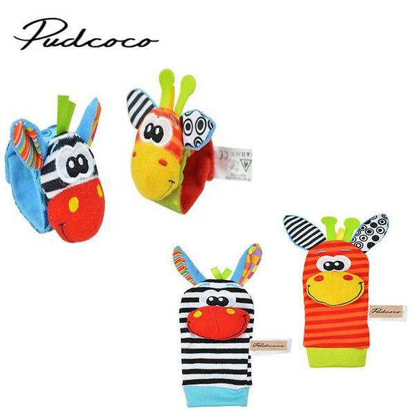 Wholesale-2017 New A Pair Baby Girl Boy Infant Toy Soft Handbells Hand Wrist Strap Rattles/Animal Socks Foot Finders Developmental Toys