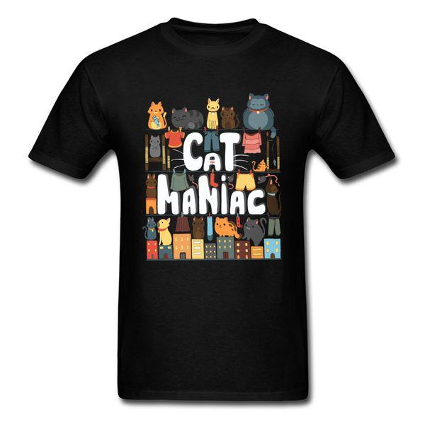 Cats Life Lovers T-shirt Mens Lucky Cat T Shirt Birthday Gift Clothing Men Black Tshirt Top Cartoon Tees Cotton No Fade