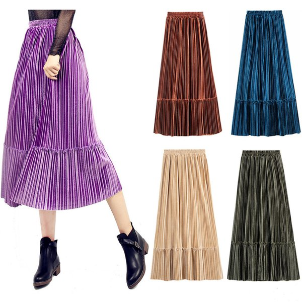 High Quality Velvet Fashion Long Women Skirts Fall Winter 2018 High Waist Pleat A line Mid Calf Elegant Skirt Dress 7 Colors S-XL in Stock