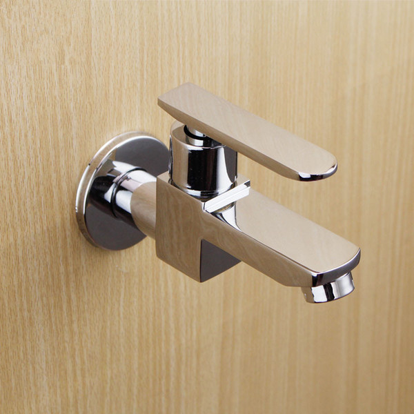 High Quality Square Single Hole Chrome Wall Mounted Bathroom Faucets Kitchen Single Cold Tap Sink