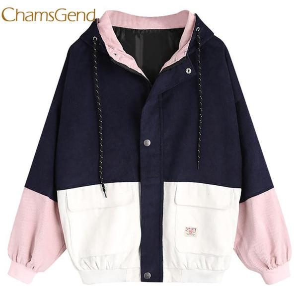 Chamsgend jacket women winter Corduroy Patchwork Windbreaker Long Sleeve Oversize Zipper Overcoat Outerwear l1222 Y18110501