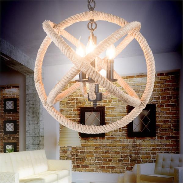Mordern rope Retro pendant lights ron Round ball Lights fixtures lustre industriel iron Loft Antique DIY E27 Art Ceiling Lamp
