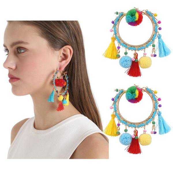 Retro fashion personality hair ball earrings geometric big circle exaggerated tassel jewelry wholesale