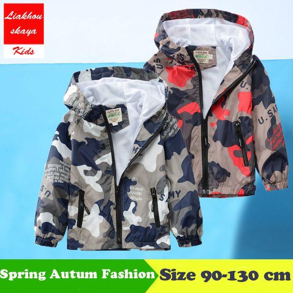 2018 New Boy/Girls Outwear Children's Camouflage Hooded Jackets For Boys Handsome Kid Long Sleeve Windbreaker Spring/Autumn