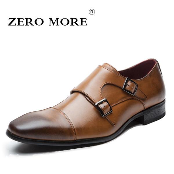 CERO MÁS Mens Shoes Casual Formal Doble Monk Correa Vestido Cuadrado del diseño del diseño de Split Zapatos de cuero de los hombres 2018 Venta caliente