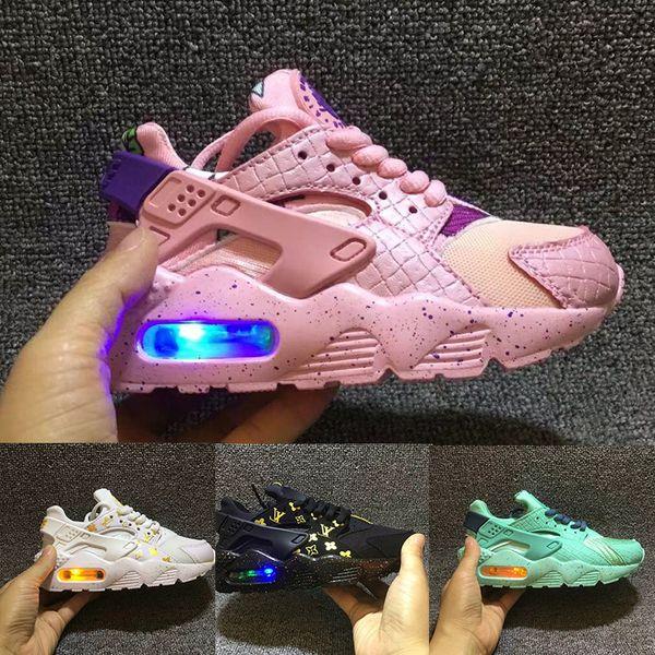 Nike Air Huarache Flash éclairé enfants air chaussures de course huarache enfants chaussures de course huaraches infantile en plein air enfant en bas âge garçon athlétique filles filles