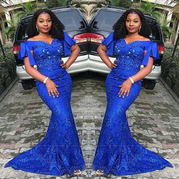 Royal Blue Mermaid Prom Dresses Plus Size Off Shoulder Lace Appliques  Evening Gowns South African Sweep Train Formal Party Dress Gigi Prom  Dresses ...