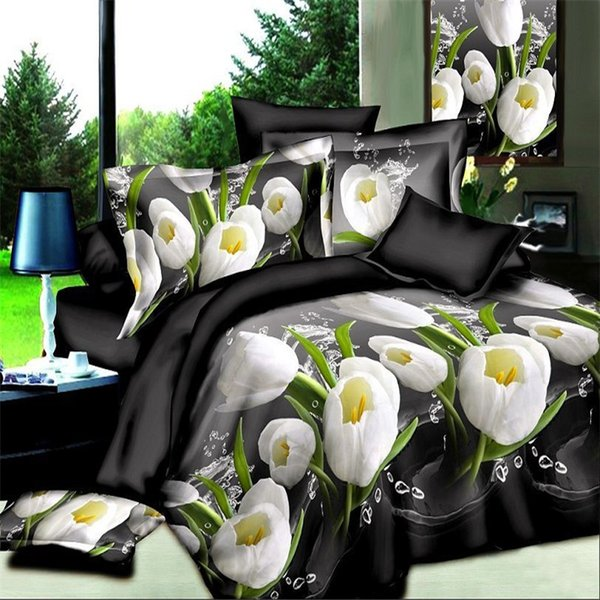 Home textiles Tulip Rose flowers 3D Bedding Set,Color stripes cover,Bed Sheet Pillow case Butterfly Bedclothes king size soft