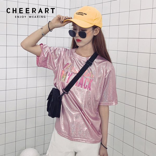 Cheerart Harajuku camiseta con lentejuelas Glier verano holográfico Top Leer camiseta de impresión Femme Hip Hop Top mujeres