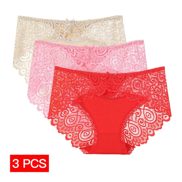 3Pcs/lot Bamboo Underwear Women Sexy Transparent Lace Floral Panties Lingerie Girl Seamless Breathable Briefs Bikini Knickers PJ