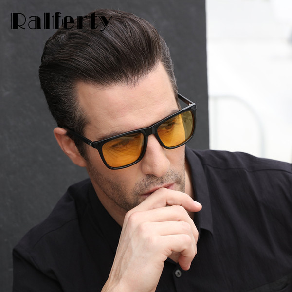 Ralferty Gafas de visión nocturna antideslumbrantes masculinas HD gafas de sol polarizadas Hombres Mujeres Gafas de conducir Amarillo Conductor Gafas K7031