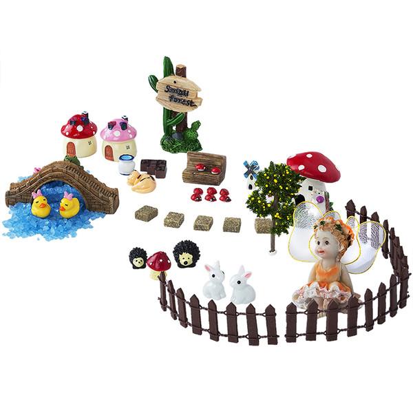 Europe 37pcs /Set Miniature Fairy Garden Accessories Resin Crafts Bonsai Decorative Miniature Decoration Gnome Moss Terrariums Figurines