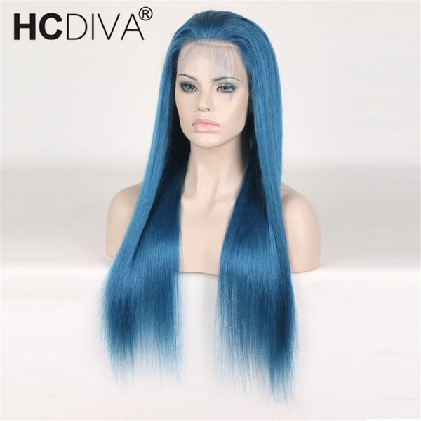 Full Lace Human Hair Wigs Blue Colorful Wigs for Woman Pre Plucked With Baby Hair Brazilian Remy Hair Wigs Length 10--24 inch