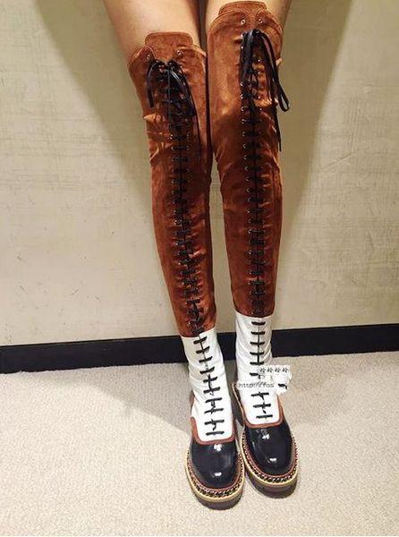Зима новое прибытие коричневый замша лоскутное зашнуровать над коленом низкий каблук длинные сапоги разноцветные Оксфорд езда сапоги женщин рыцарь сапоги