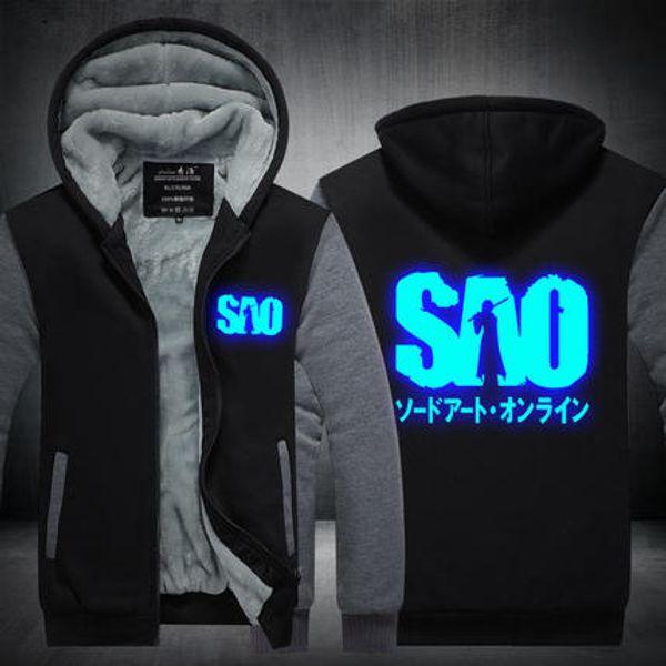 Men Velvet Thicken Hooded Sweatshirts Sword Art Online Anime Luminous Zipper Hoodies Winter Cardigan Jacket Coat Pullover USA EU Size Plus