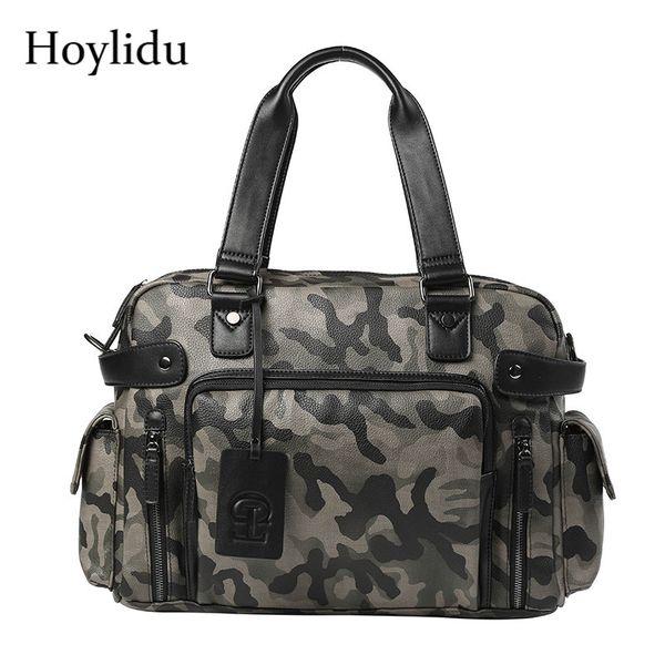 Korean Mens Briefcase PU Leather Fashion Camouflage Vintage Casual Travel Totes Large Capacity Messenger Bags Crossbody Handbag