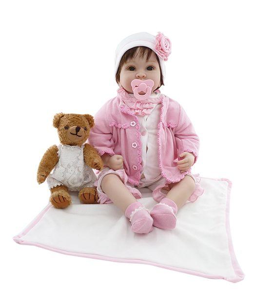 Silicone Reborn Baby Dolls Lifelike Boneca Da Criança de Vinil Real para a menina Menino Casa de Dormir Brinquedo bebe reborn menino 55 cm Brinquedos De Pelúcia