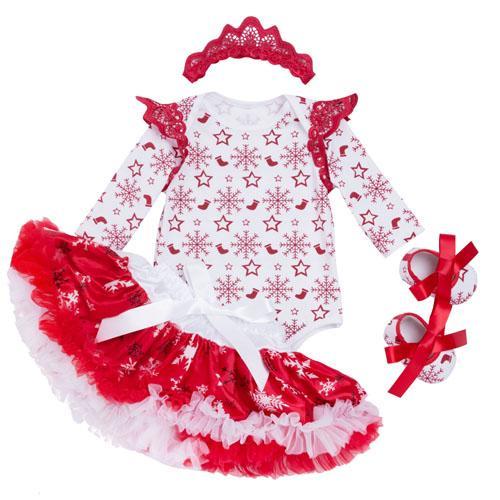 2017 New Christmas Baby Clothing Set Girl Cotton Snowflake Rompers+Ruffle Tutu Skirt+Headband 4pcs Newborn Clothes YK&Loving