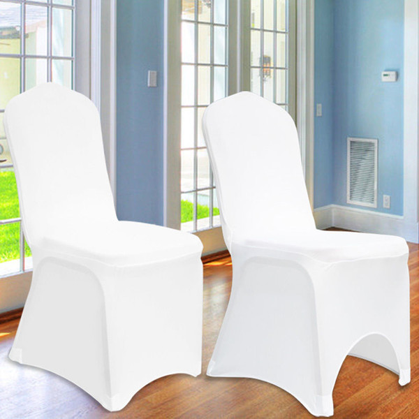 Free Shipping 100pcs Universal White Spandex Wedding Lycra Chair Covers for Wedding Banquet Hotel Decoration Hot Sale Wholesale #