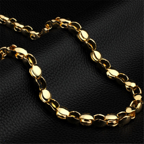 Fashion Ethnic style 18K Big Yellow Gold Color Chain Bracelet Jewelry Hip-hop Men Women High Street Wearing Birthday Christmas Gift