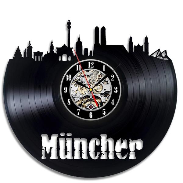 Saat değişikliği için diy hediye 2018 Munchen Vinil Saat Küçük Tema 3D Kayıt Vinil Duvar Saati Asılı Saatler Duvar Saat Horloge