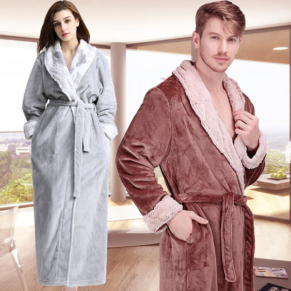 Men Women Winter Extra Long Luxury Fur Warm Bath Robe Thermal Thicken Flannel Bathrobe Mens Soft Dressing Gown Male Sexy Robes