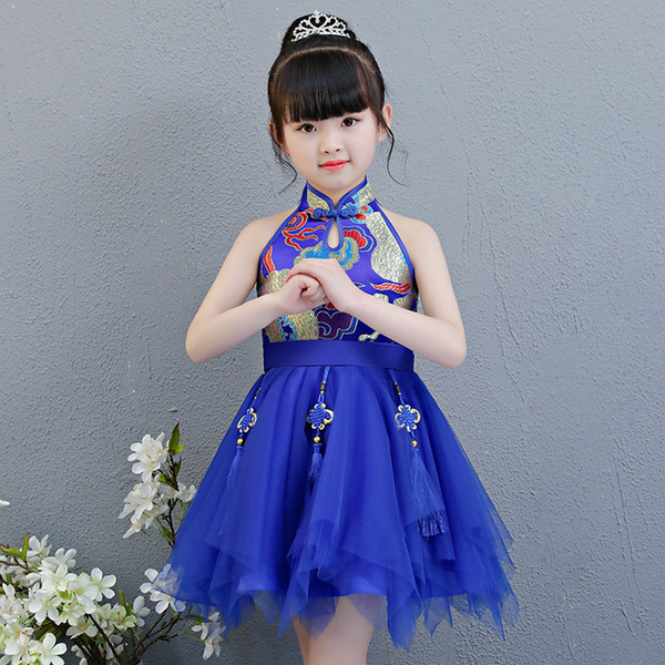 Kids Baby Girls clothes Princess Mandarin Collar sleeveless cheong-sam Chinese Style casual Party Dresses Pageant Dresses