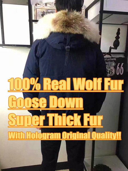 top popular Winter Down Parkas Hoody Canada Bomber Wolf Fur Jackets Zippers Designer Jacket Men Chilliwackbomber Warm Coat Outdoor Parka Green Online 2019