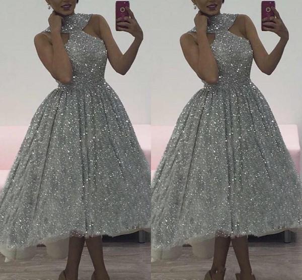 2019 de alta qualidade de charme de prata lantejoulas lantejoulas vestidos de baile além de mangas macios montagem Hi-Low Cocktail Party Dresses Custom Made