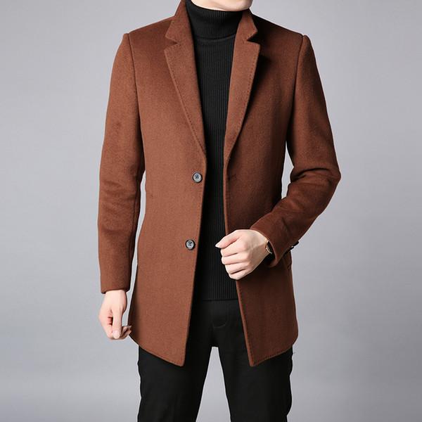 2018 Marca de Moda Inverno Trench Coat Mens Longo Fino Fit Peacoat Casacos Quentes Misturas De Lã Casaco Marrom Casuais Roupas masculinas