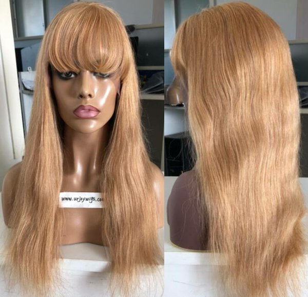 9A Grade Honey Blonde Full Lace Wigs with Bang European Virgin Human Hair Straight Gluelss Lace Front Wigs for Black Woman Free Shipping