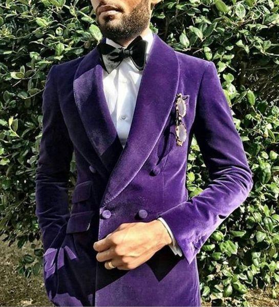 Purple Velvet Men Suit Handsome Shawl Lapel Double Breasted Jacket 2017 Modern Tuxedo For Party (Jacket+Pants+Bow Tie)