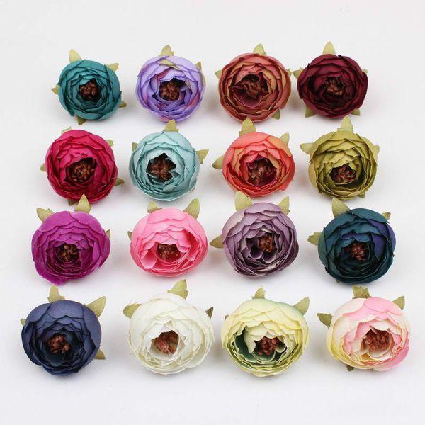 DIY 16 Cores Tea Rose Bud Peônia Pequena Flor Falso Artificial Flores De Casamento Flores De Seda Cabeça Decoração Do Partido Home Decor caixa de presente