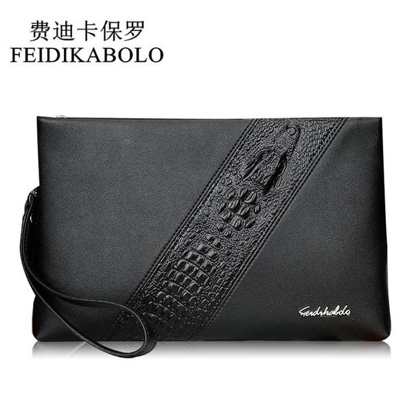 FEIDIKABOLO Designer Wallets Leather Men Wallets Black Purse Male Clutch Wallet 3D Crocodile Long Handy Bags Carteras Mujer Card