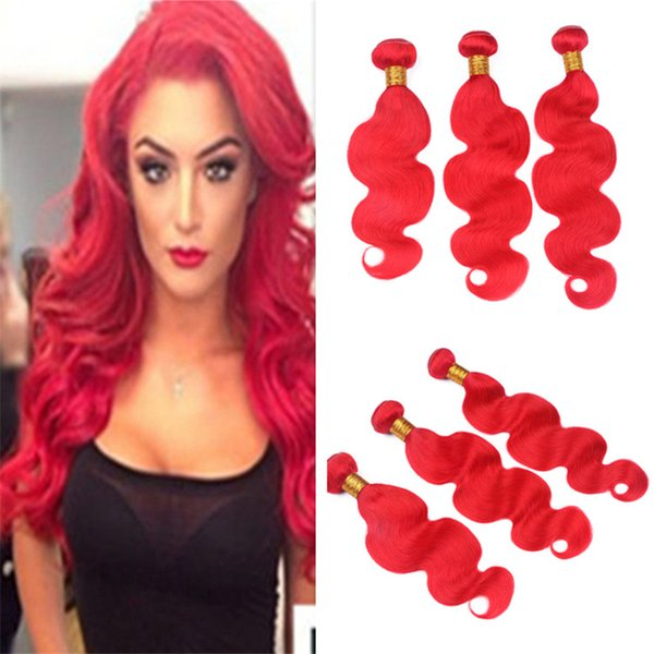 Pure Color Red Human Hair Weave 3 Bundles Body Wave Wavy Bright Red Virgin Peruvian Hair Weft Extensions 3Pcs Lot