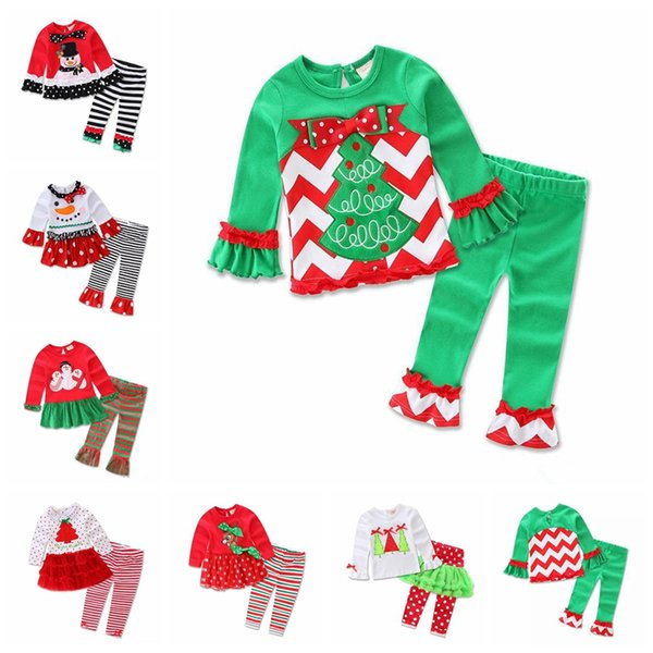 7 color long sleeve baby girls Xmas Outfits Children Christmas 2pcs sets clothes white sanda reindeer tree dress striped ruffle pants MMA659