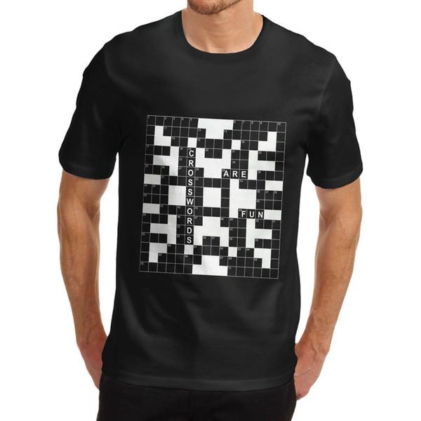 Le parole crociate degli uomini sono divertenti T-shirt novità in cotone Moda uomo e donna T Shirt Spedizione gratuita Estate Maniche corte Fashiont