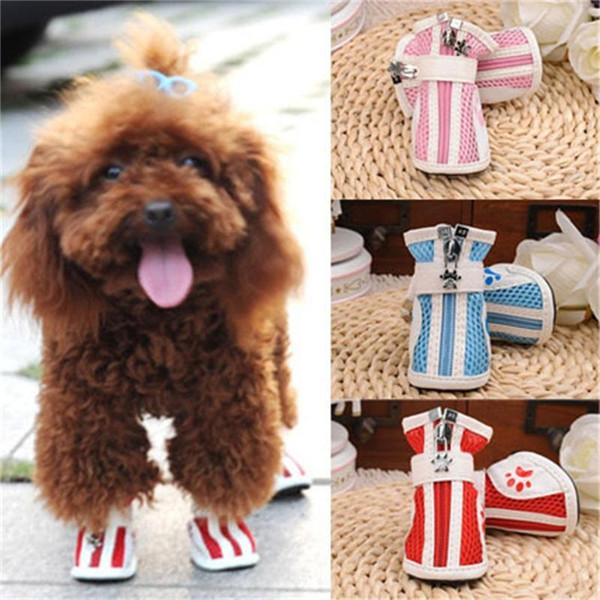 Haustier Skidproof Boot Ox Sehnen Belüftung mit Grid Dog Schuhe rutschfeste weiche Sohle für kleine mittlere Haustiere Lieferungen 11za ff